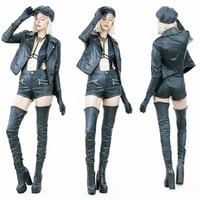 Hot Girl in Black Leather Boots jacket Hat