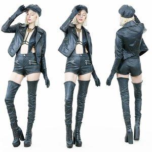 3D model girl leather