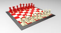 modern chess set 3D