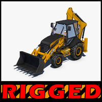 3D backhoe loader rigged model