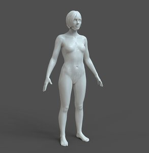 3D model casual woman basic