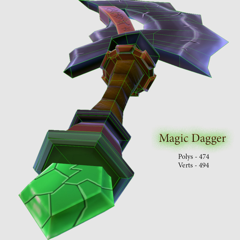 hand painted dagger 3D