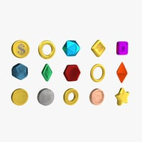 Low Poly Coins and Gems