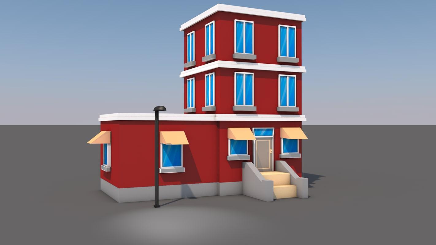 3D cartoon building
