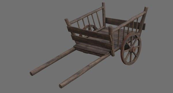 3D wooden cart 1b model