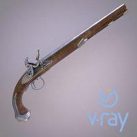 3D model flintlock pistol modeled