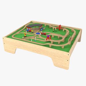 wooden railway table 3D model