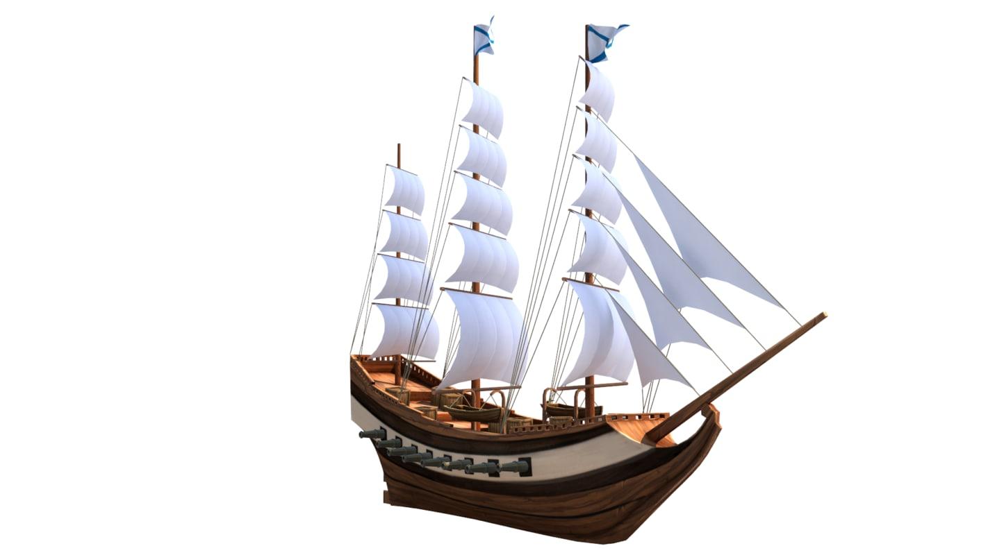 3D sail ship fregate model