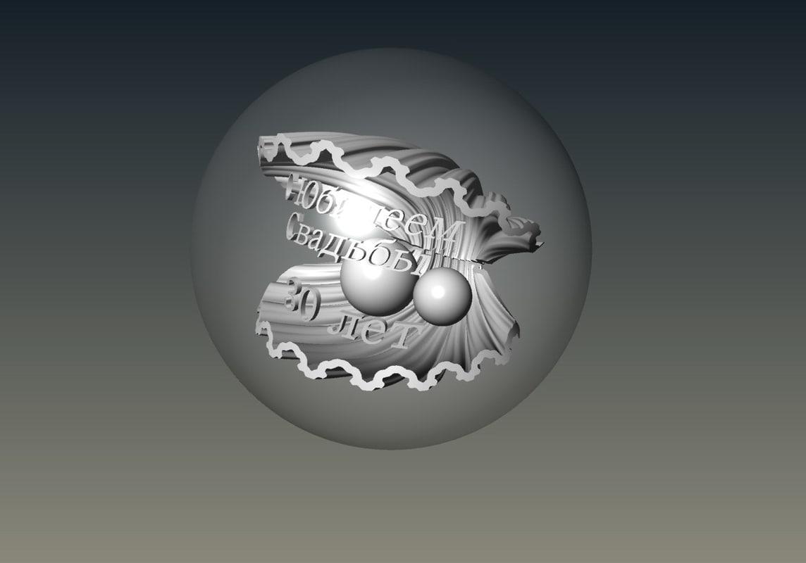 3D seashell pearls model