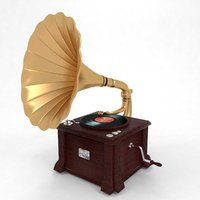 3D gramophone phonograph model
