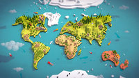 Cartoon Low Poly Earth World Map