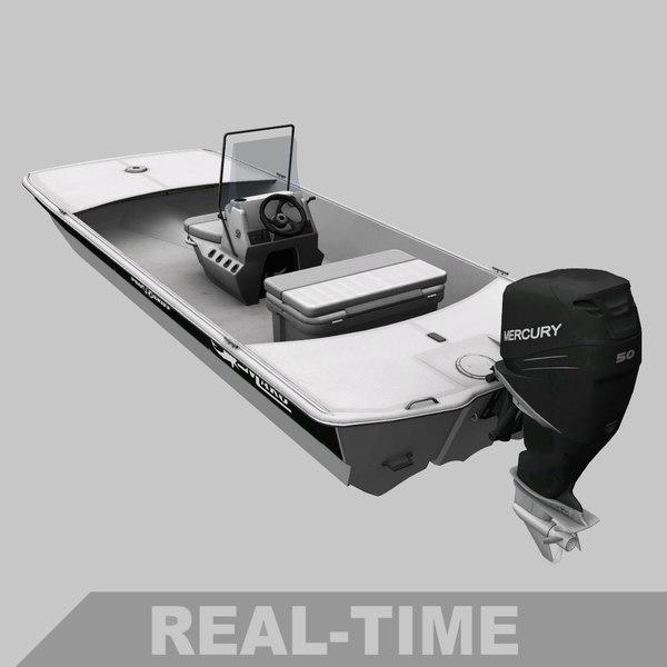 3D fishing boat skiff