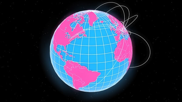 3D abstract geopolitical earth globe model