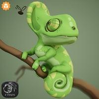 3D model cartoon chameleon character rig