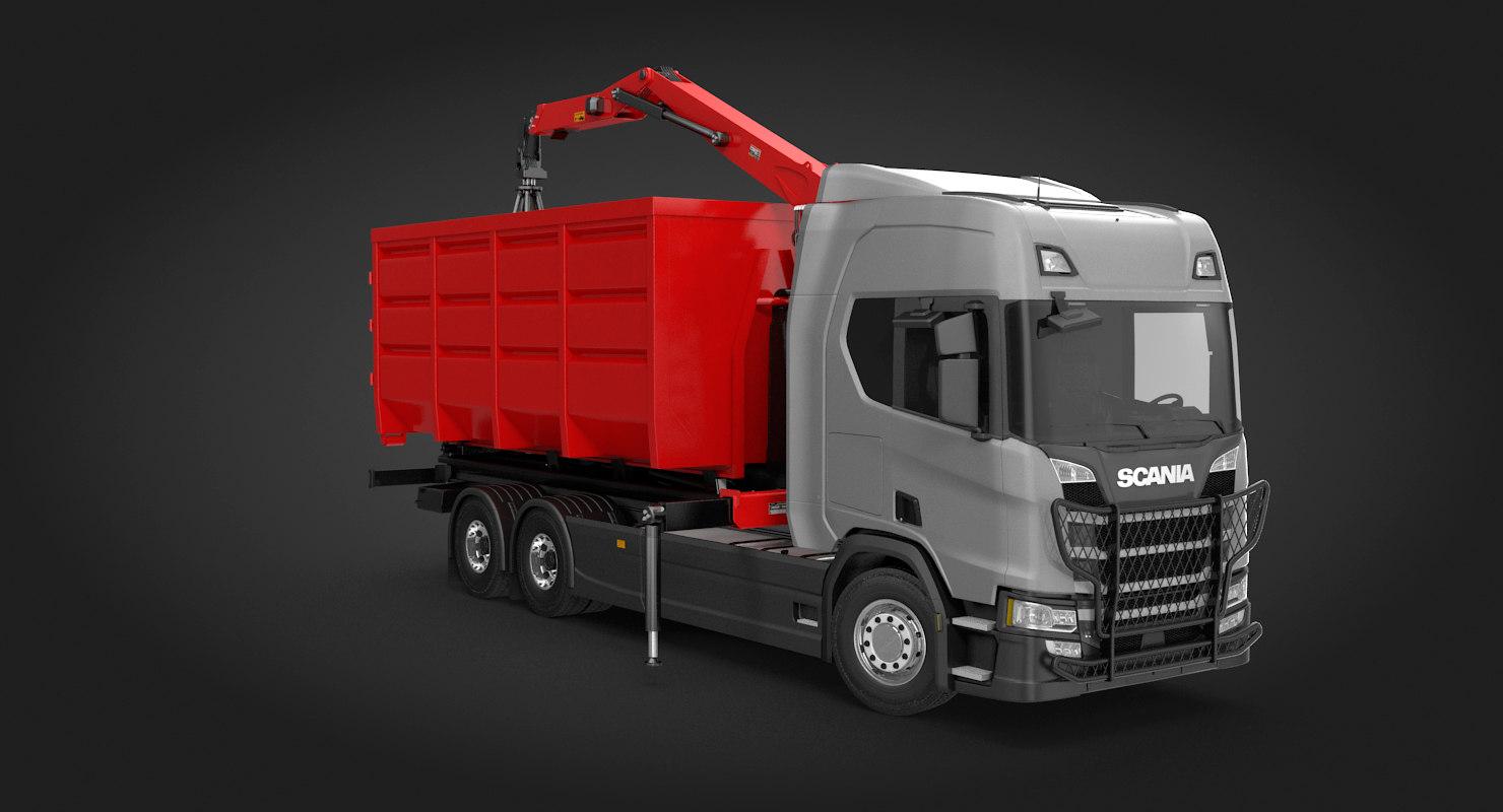 3D waste handling crane truck
