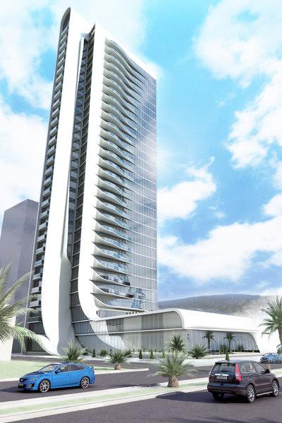 modern skyscraper building organic 3D model