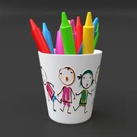 beaker pencils 3D model
