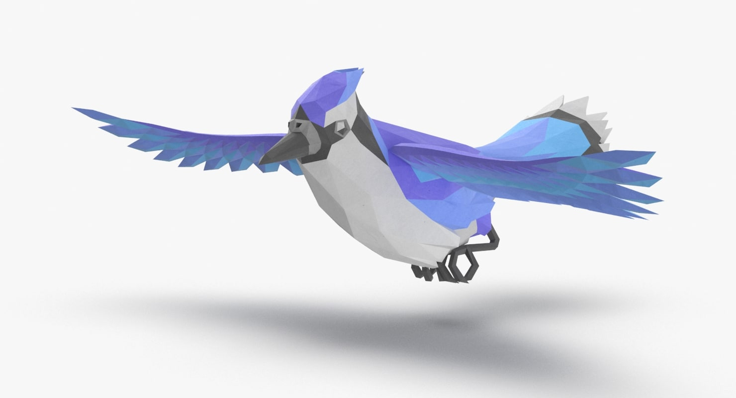 bird blue bird flying 3d model