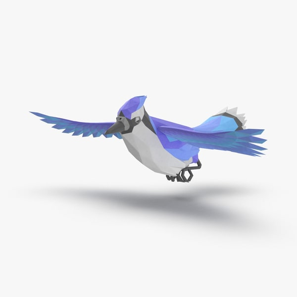 bird----blue-bird-flying 3D model