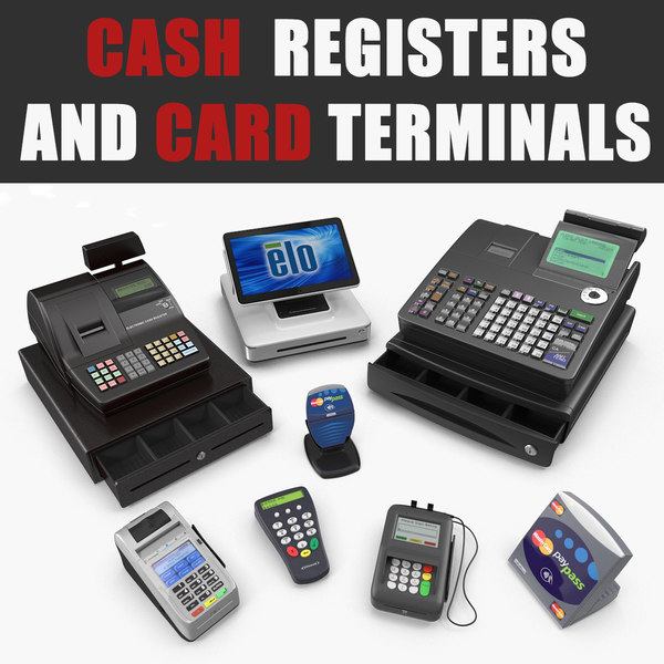 3D model cash registers card terminals