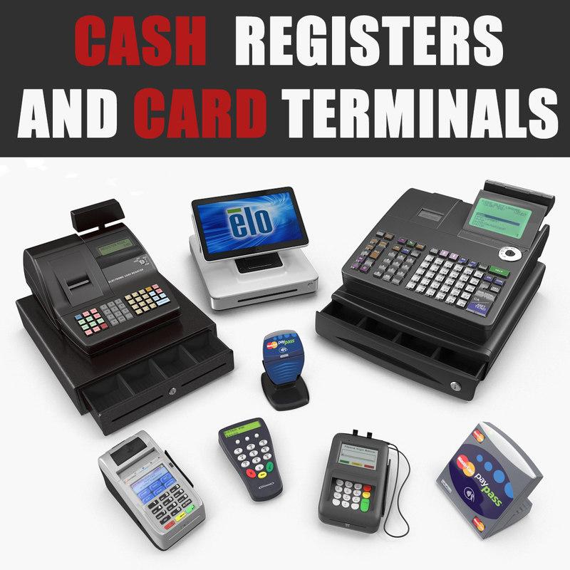 3D model cash registers card terminals