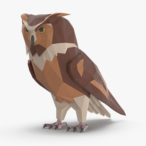 owl---perched-straight 3D model