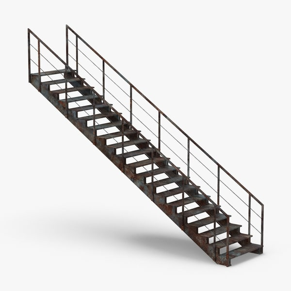 industrial-staircases-straight-dirty 3D model