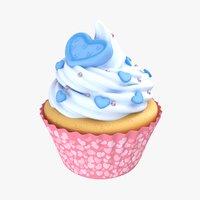 3D cupcake blue heart