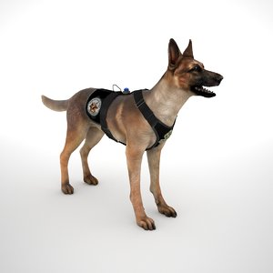 belgian malinois combat harness 3D model