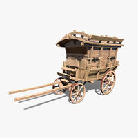 Low-poly Wooden Carriage