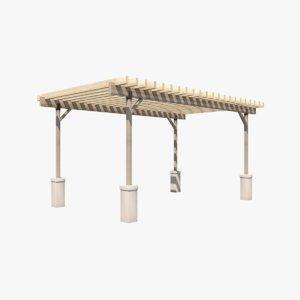 3D wooden pergola model