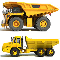 mining dump trucks modelled 3D model