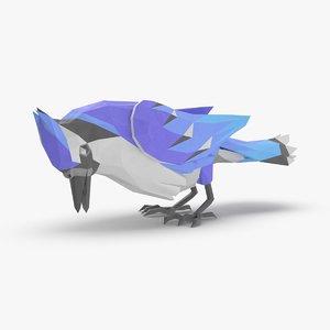 bird----blue-bird-pecking 3D model