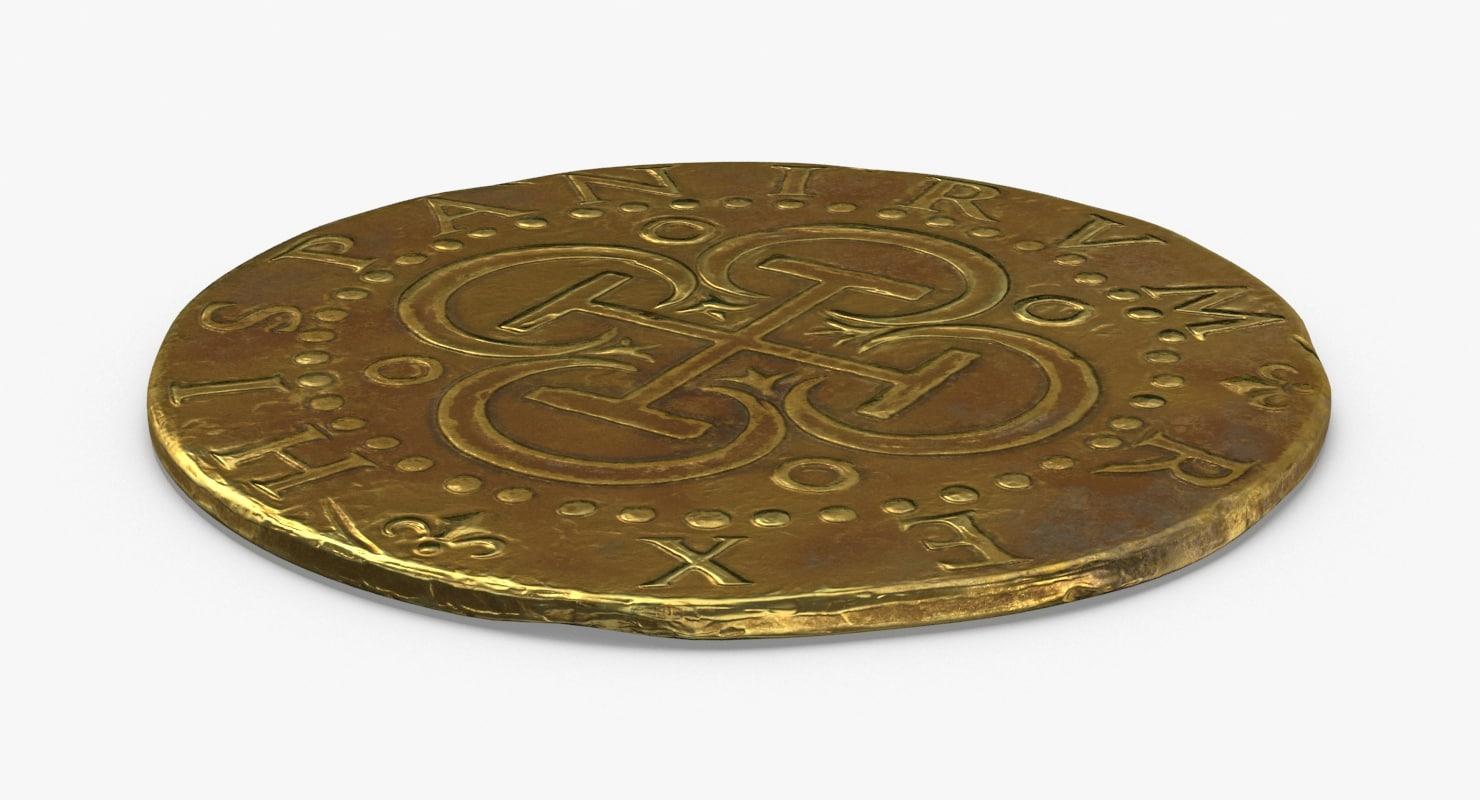 gold-coins-dirty---coin-2-flat 3D model