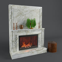 fireplace interior design 3D