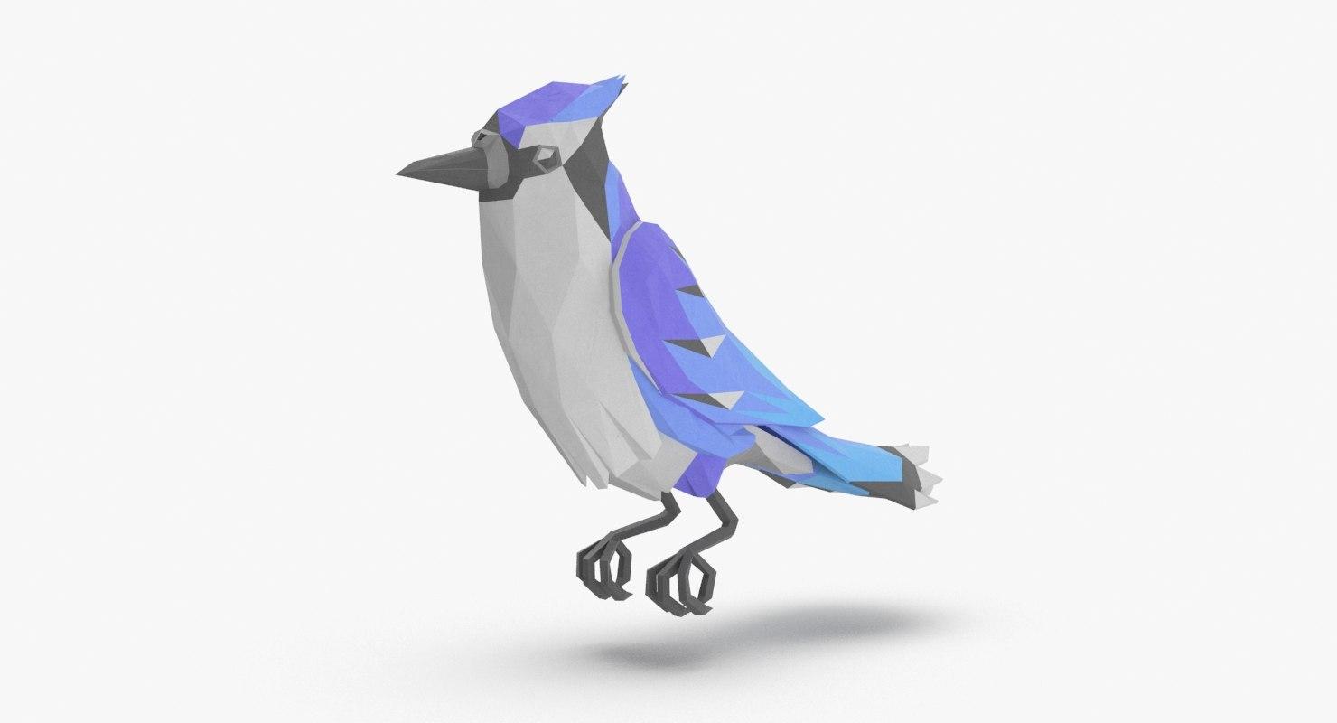 bird----blue-bird-perching model