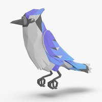 bird----blue-bird-perching model