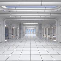 classic futuristic interior scene 3D model
