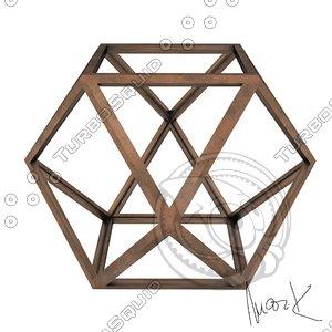3D hexaedron leonardo model