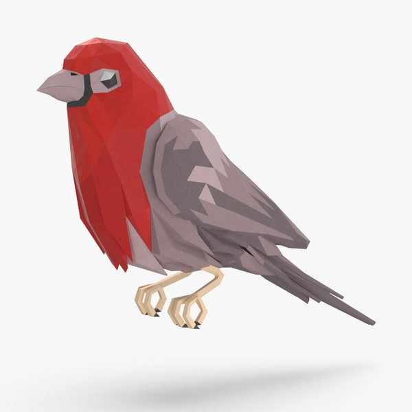 bird----red-bird-perching 3D