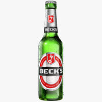 modeled becks beer bottle model