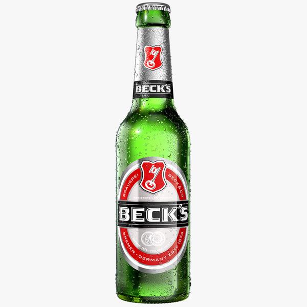 modeled becks beer bottle model
