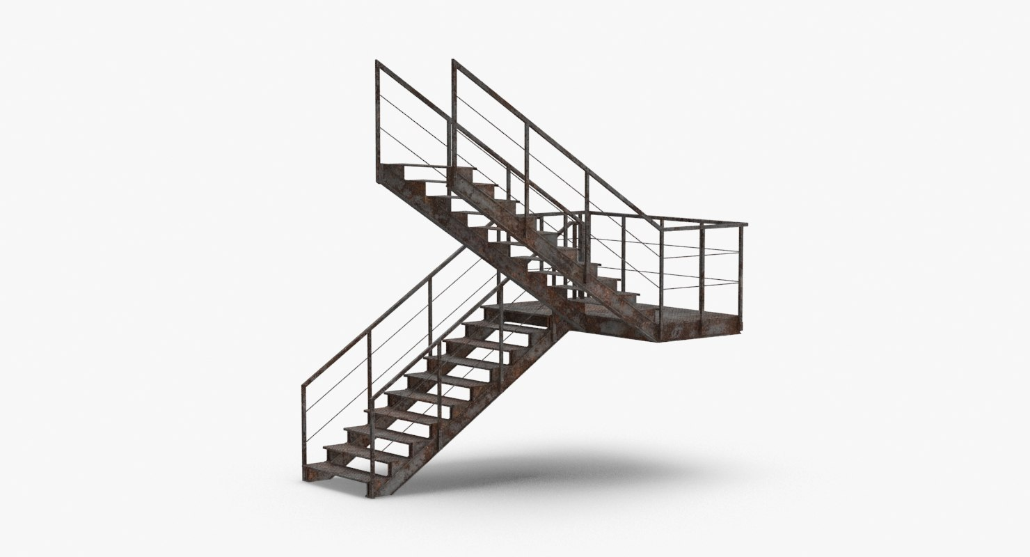 3D model industrial-staircases-c-shaped-dirty