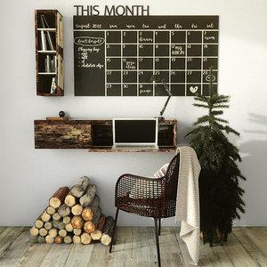 calendar notes 3D model