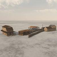 3D buildings shanty town vue