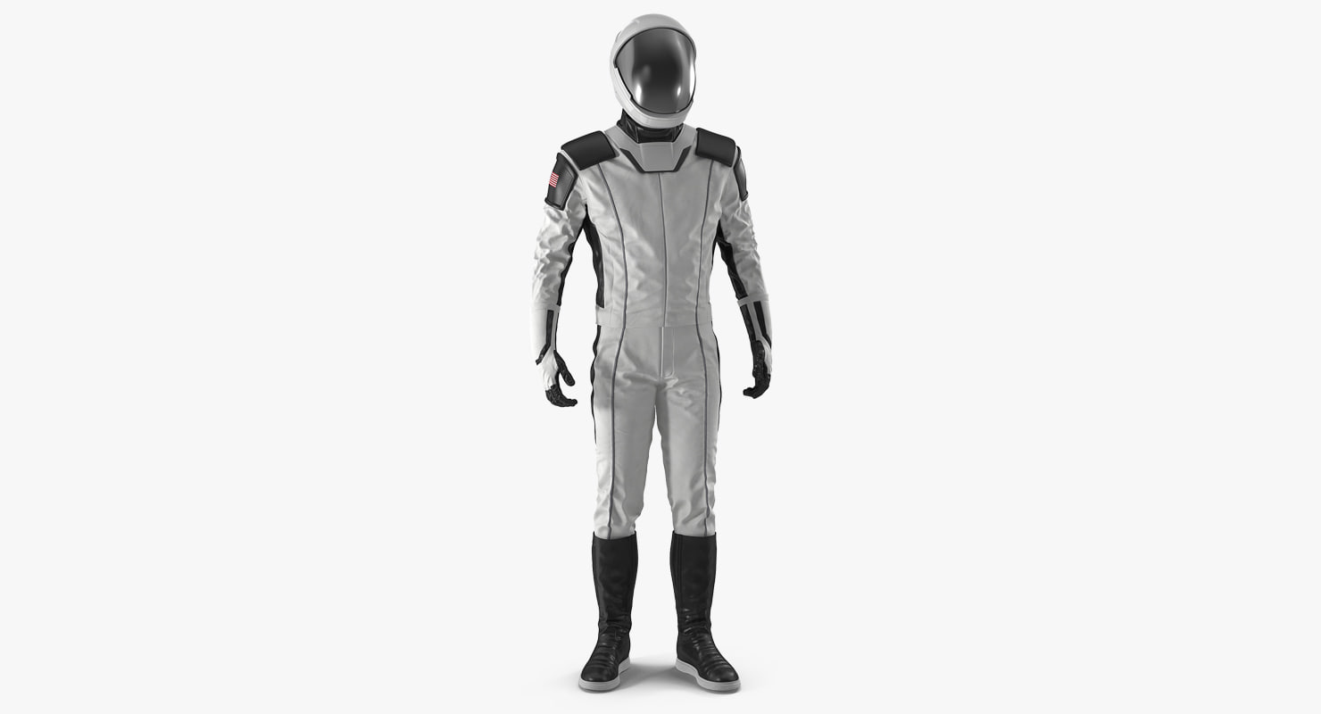 futuristic space suit standing 3D model