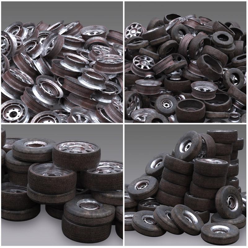3D sets wheel junk yard