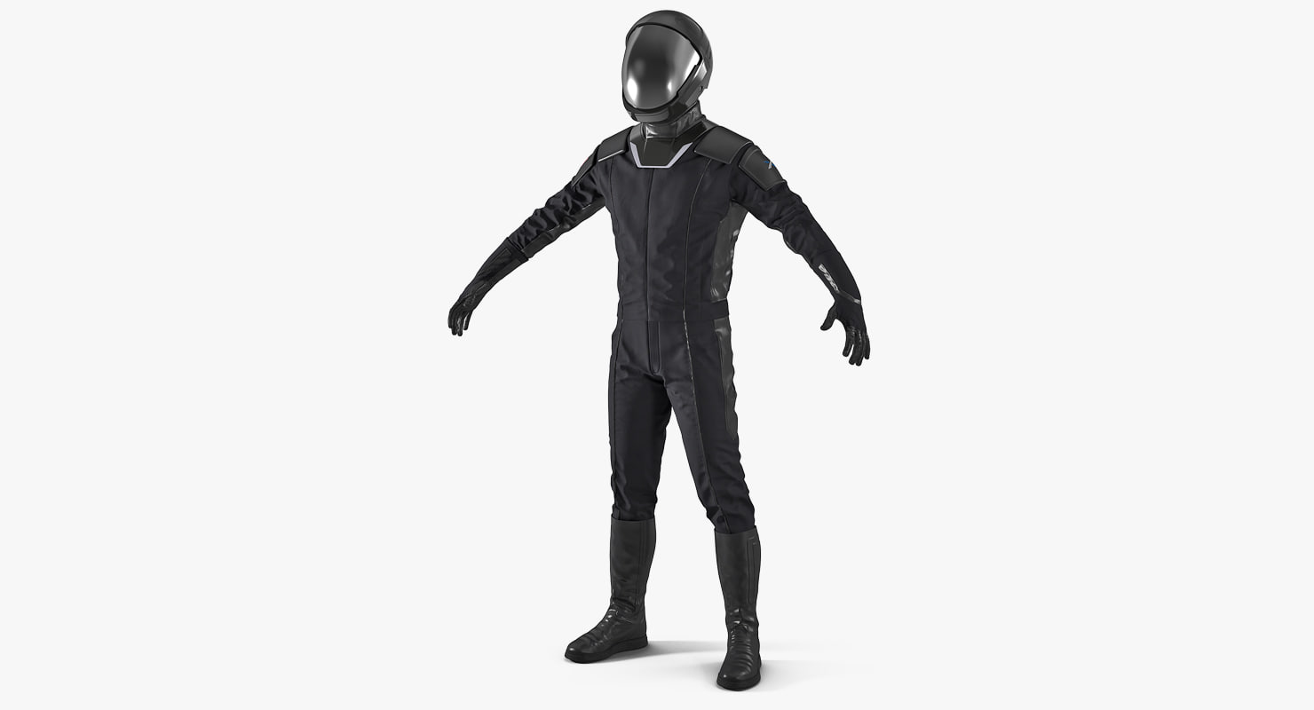 sci-fi space suit black 3D model