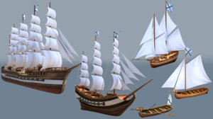 3D ships barque fregate model