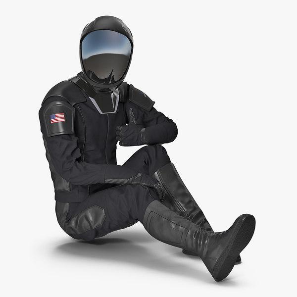 sci-fi space suit black 3D
